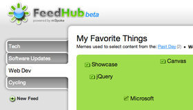 FeeHub allows users to view and change their interests using a highly interactive drag and drop interface
